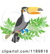 Cartoon Of A Happy Toucan Bird On A Branch Royalty Free Vector Clipart by Alex Bannykh