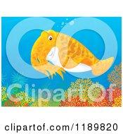 Cartoon Of A Cute Orange Cuttlefish Over A Reef Royalty Free Clipart by Alex Bannykh