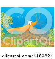 Cartoon Of A Happy Shrimp Exploring Underwater Royalty Free Clipart by Alex Bannykh