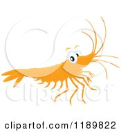 Cartoon Of A Cute Happy Shrimp Royalty Free Vector Clipart