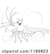Cartoon Of A Cute Happy Outlined Shrimp Royalty Free Vector Clipart by Alex Bannykh