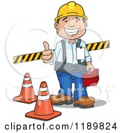 Cartoon Of A Happy Construction Worker Holding A Thumb Up And Standing With Safety Gear Royalty Free Vector Clipart