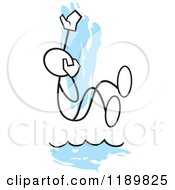 Cartoon Of A Stickler Man Taking The Plunge Over A Blue Accent Royalty Free Vector Clipart