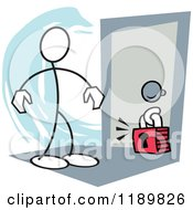 Cartoon Of A Stickler Man Locked Out Of A Room Over A Blue Accent Royalty Free Vector Clipart