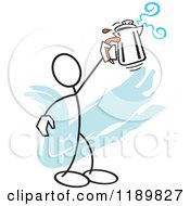 Cartoon Of A Stickler Man Holding Up A Percolator Over A Blue Accent Royalty Free Vector Clipart