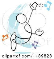 Cartoon Of A Stickler Man Hitting A High Note Over A Blue Accent Royalty Free Vector Clipart