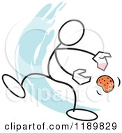 Cartoon Of A Stickler Man With A Hot Potato Over A Blue Accent Royalty Free Vector Clipart
