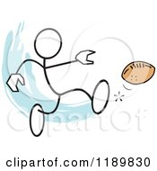 Cartoon Of A Stickler Man Kicking A Football Over A Blue Accent Royalty Free Vector Clipart