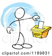 Cartoon Of A Stickler Man Putting A Note In A Suggestion Box Over A Blue Accent Royalty Free Vector Clipart