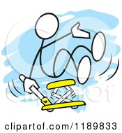 Cartoon Of A Stickler Man Getting A Lift On An Automotive Jack Over A Blue Accent Royalty Free Vector Clipart
