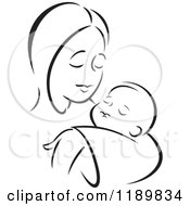 Cartoon Of A Black And White Sketch Of A Loving Mother Holding A Baby Royalty Free Vector Clipart by Johnny Sajem