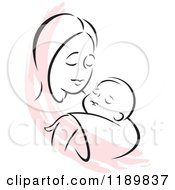 Cartoon Of A Black And White Sketch Of A Loving Mother Holding A Baby With A Pink Accent Royalty Free Vector Clipart by Johnny Sajem
