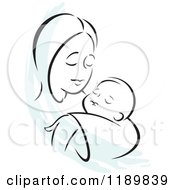 Cartoon Of A Black And White Sketch Of A Loving Mother Holding A Baby With A Blue Accent Royalty Free Vector Clipart by Johnny Sajem