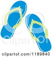 Cartoon Of A Pair Of Blue And Green Flip Flop Sandals Royalty Free Vector Clipart by Johnny Sajem