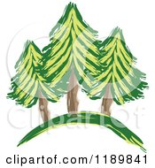 Cartoon Of A Painting Of Evergreen Trees On A Hill Royalty Free Vector Clipart