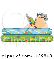 Clipart Of A Man Holding A Squirt Gun In A Kiddie Pool Royalty Free Vector Illustration by djart