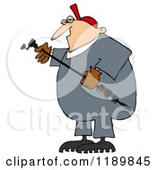 Cartoon Of A Worker Man Holding A Gas Valve Changer Royalty Free Clipart by djart