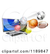 Clipart Of A Desktop Computer And Sports Balls Flying From The Screen Royalty Free Vector Illustration by AtStockIllustration