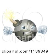Cartoon Of A Mad Bomb Mascot Holding Up Fists Royalty Free Vector Clipart by AtStockIllustration