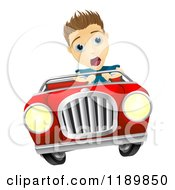 Cartoon Of A Teenager Losing Control Of A Convertible Car Royalty Free Vector Clipart
