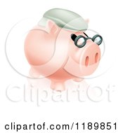 Clipart Of A Pension Piggy Bank With Glasses And A Hat 2 Royalty Free Vector Illustration