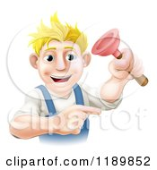 Cartoon Of A Happy Young Blond Plumber Holding A Plunger Royalty Free Vector Clipart