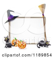 Cartoon Of A Halloween Frame With A Witch Hat Broom Pumpkins And Cats Royalty Free Vector Clipart