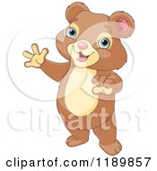 Cartoon Of A Cute Happy Bear Cub Standing And Waving Royalty Free Vector Clipart