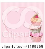 Cartoon Of A Pink Striped Cupcake Background With Copyspace Royalty Free Vector Clipart by Pushkin