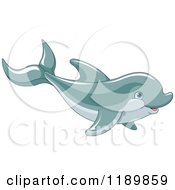Cartoon Of A Cute Happy Dolphin Swimming Royalty Free Vector Clipart by Pushkin