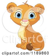 Cartoon Of A Cute Lion Cub Sitting Royalty Free Vector Clipart by Pushkin