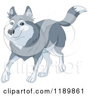 Cartoon Of A Cute Happy Wolf Walking Royalty Free Vector Clipart by Pushkin