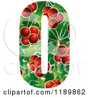 Clipart Of A Christmas Holly And Berry Capital Letter O Royalty Free Vector Illustration by Lal Perera