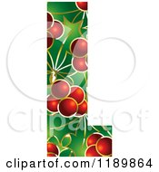 Clipart Of A Christmas Holly And Berry Capital Letter L Royalty Free Vector Illustration by Lal Perera