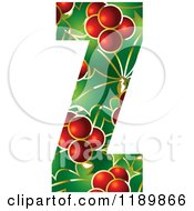 Clipart Of A Christmas Holly And Berry Capital Letter Z Royalty Free Vector Illustration by Lal Perera