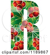 Clipart Of A Christmas Holly And Berry Capital Letter R Royalty Free Vector Illustration by Lal Perera
