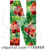 Clipart Of A Christmas Holly And Berry Capital Letter N Royalty Free Vector Illustration by Lal Perera