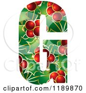Clipart Of A Christmas Holly And Berry Capital Letter G Royalty Free Vector Illustration by Lal Perera