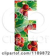 Clipart Of A Christmas Holly And Berry Capital Letter E Royalty Free Vector Illustration by Lal Perera