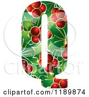 Clipart Of A Christmas Holly And Berry Capital Letter Q Royalty Free Vector Illustration by Lal Perera