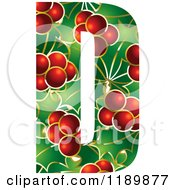 Clipart Of A Christmas Holly And Berry Capital Letter D Royalty Free Vector Illustration by Lal Perera