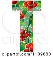 Clipart Of A Christmas Holly And Berry Capital Letter T Royalty Free Vector Illustration