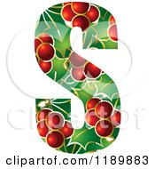 Clipart Of A Christmas Holly And Berry Capital Letter S Royalty Free Vector Illustration by Lal Perera