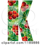 Clipart Of A Christmas Holly And Berry Capital Letter K Royalty Free Vector Illustration by Lal Perera