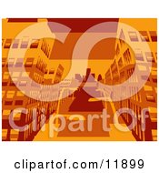 City Buildings In Orange Tones Clipart Picture by AtStockIllustration