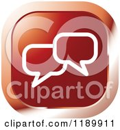Clipart Of A Red Chat Balloon Icon Royalty Free Vector Illustration