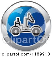 Clipart Of A Round Blue And Silver Space Rover Icon Royalty Free Vector Illustration