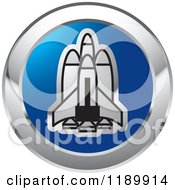 Clipart Of A Round Silver And Blue Space Launch Icon Royalty Free Vector Illustration