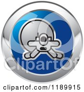 Clipart Of A Round Blue And Silver Spacewalk Astronaut Icon Royalty Free Vector Illustration