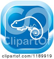 Clipart Of A Blue Chameleon Lizard Icon Royalty Free Vector Illustration